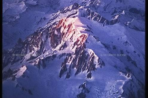 The summit of Monte Bianco or Mont Blanc - aerial view
